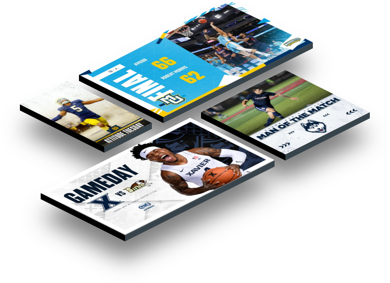 Examples of Box Out Sports custom graphics